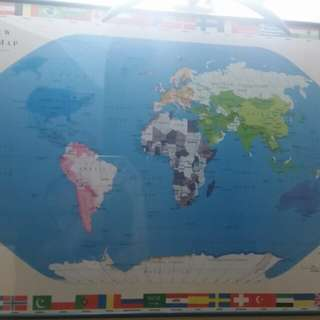 World map with frame