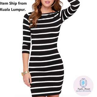 (Ready Stock KL) Women Dress Stripe Long Sleeve Casual Dress Round Neck Top Bodycon Dress