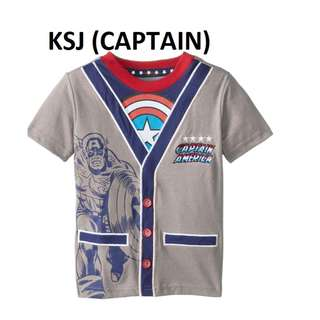 1-6 years old stock available - Captain America boys clothes baby Toddler Children grey base superhero short sleeve