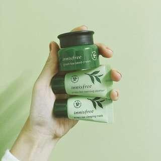 【cha美妝】Innisfree 三件組 綠茶 乳霜 凍膜 洗面乳