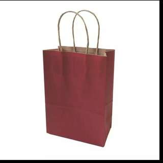 21x15x8cm Multifunction dark color Kraft paper bag with handles Festival gift bag High Quality