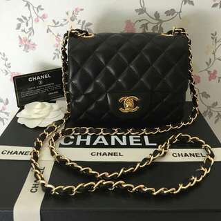 PREORDER CHANEL MINI FLAP LAMBSKIN GOLD HARDWARE COMPLETE