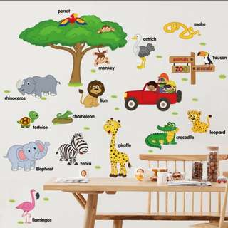 Baby Early Learning Sticker Cartoon Animal English Word Nursery Baby Room Wall Decorative Stickers