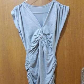 Preloved Mini Dress Abu2 Cantik Fit to L Mat Kaos Katun
