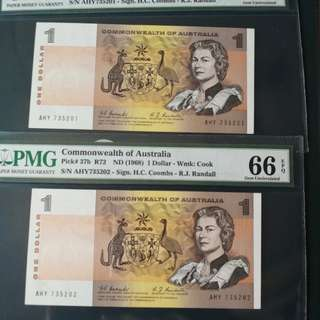 Commonwealth bank of Australia $1 1968 Comb & Randal sign consecutive pair at PMG 66EPQ rare in very high grade