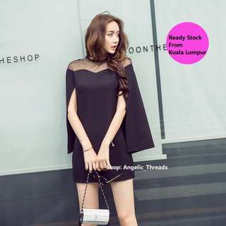 (Ready Stock KL) Woman Dress Dinner Dress Office Dress  OL Mini Bubble Sleeve V Neck Workwear Trumpet Sleeve