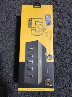 REMAX RU-U1 Multi Remax 5 USB Charger 2.4A Fast Charging Portable USB Port