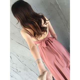Candy w 黑色 ❤️現貨粉色 紅色3色 夏季露背綁帶蝴蝶結🎀長洋裝