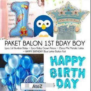 Balloon - first birthday balloon package for boy