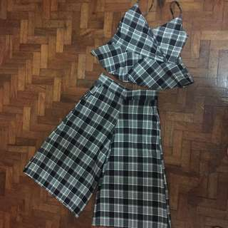 Gingham top and culottes set