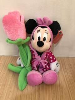 BWT Minnie Mouse Soft Toy With Flower