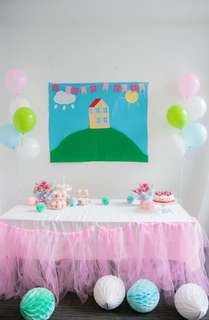 DIY Peppa Pig Party Backdrop, Tutu Tulle Table Skirt