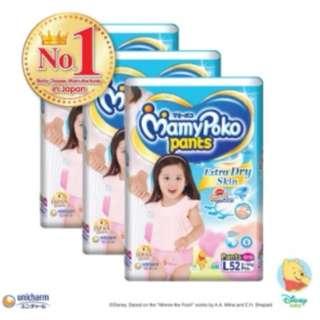 Mamypoko Pants Extra Dry Skin Pants Girl L52 (3 Pack)