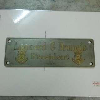 Leonard G Francis President Fat Leonard Scandal Door Sign Vintage