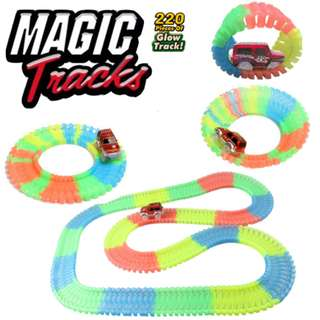 220pcs Magic Tracks Bend Flex Glow in the Dark Assembly Toy DIY Glowing racing