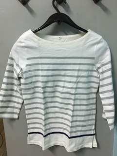 3/4 white top with gray stripes