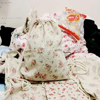 日系可愛印花麻布大容量雙肩包索繩袋背包
