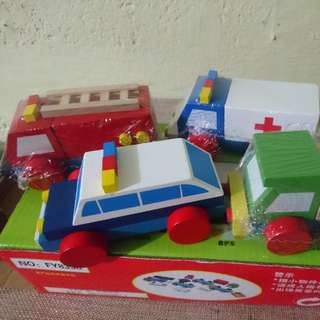 Wooden Rescue Toy Cars