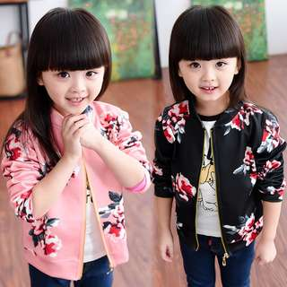 2pcs Floral Kids Coat Baby Girls Outerwear Windbreak Korean Style Long Sleeve Jacket