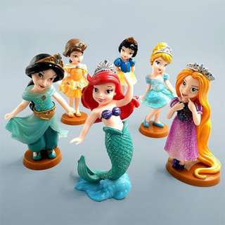 Premium Collection 6 Princess PVC Figure Collection Cake Topper