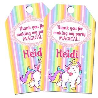 Customized Unicorn Birthday Tags