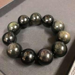 黑耀石 水晶 手鍊 (購於玉器市場)