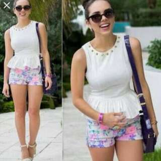 Peplum Top With Shorts