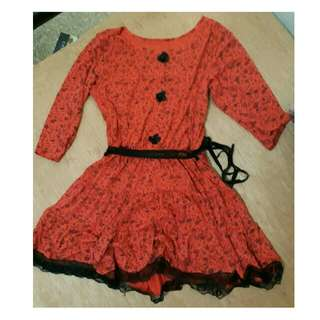 Red orange dress S to M