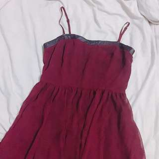 F21 MAROON CHIFFON DRESS