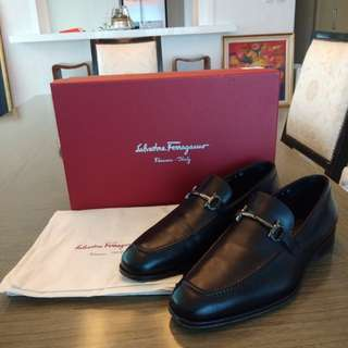 Authentic Ferragamo Shoes Formal Black Leather
