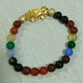 Multi Coloured Obsidian Bracelet.
