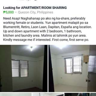 LOOKING FOR APARTMENT ROOM SHARING