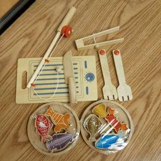 (💰100=2件) 木制磁力釣魚及煮飯仔玩具