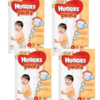 Huggies Gold Pants Diapers Size L (4 packs x 44 pcs) Carton Sale