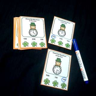 DIY Clover Learning Time Task Cards : Hour & Half Hour (24cards)