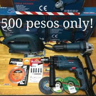 Bosch Drill,  Grinder,  Jigsaw and accessories