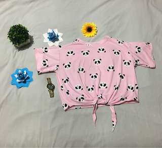 Pink panda tie top