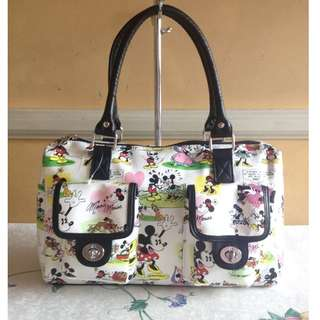 Disney Parks Minnie and Mickey Mouse White Comic Strip Shoulder or Hand Bag