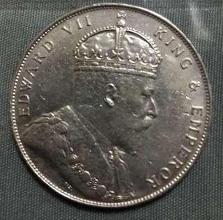1908 Straits Settlement Silver Dollar