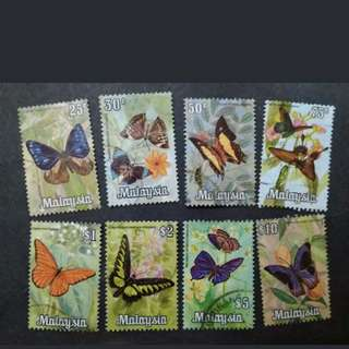 Malaysia 1970 Butterflies Definitive Complete Set - 8v Used Stamps