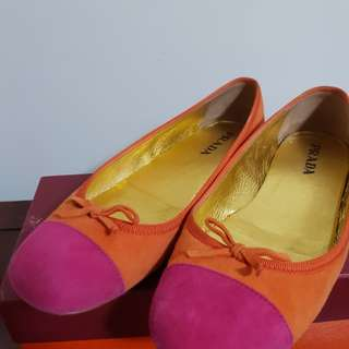Prada ballet suede flats orange and pink size 36