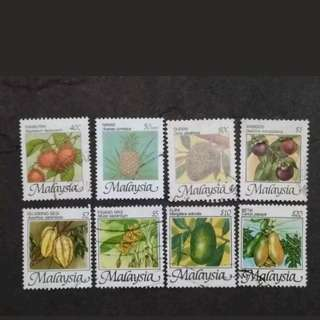 Malaysia 1986 4th Definitive Fruits Series Complete Set - 8v Used Stamps
