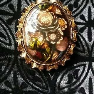 vintage floral brooch pin 心口針 襟針