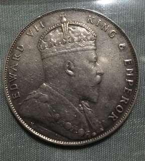 1907 Straits Settlement Silver Dollar