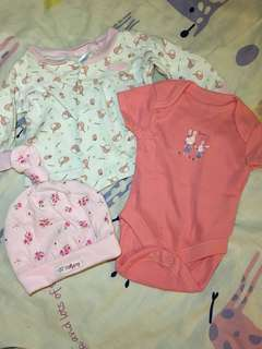 Set of 3 Baby Clothes and cap