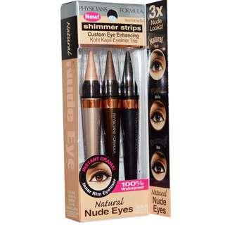 Physician's Formula, Inc., Shimmer Strips, Custom Eye Enhancing Kohl Kajal Eyeliner Trio, Natural Nude Eyes