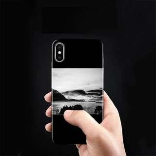 Black Monochrome Waves on Shores iPhone case