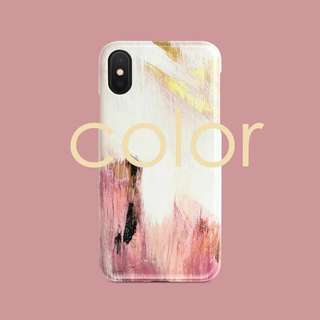 Pink White Gold Brush Strokes iPhone case