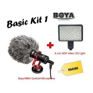 Boya BY-MM1 Shotgun Video Microphone + AList 165II LED Light (Basic Kit)