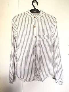 Striped Long Sleeves Top (White)